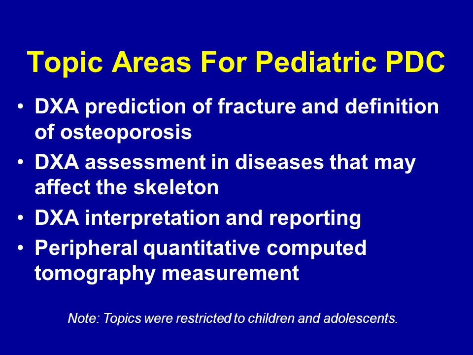 Topic Areas For Pediatric PDC