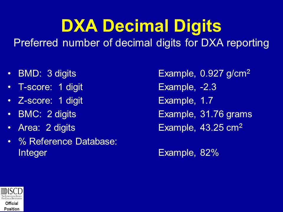 DXA Decimal Digits Preferred number of decimal digits for DXA reporting