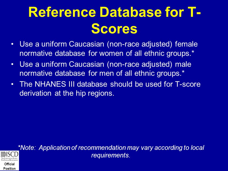 Reference Database for T-Scores