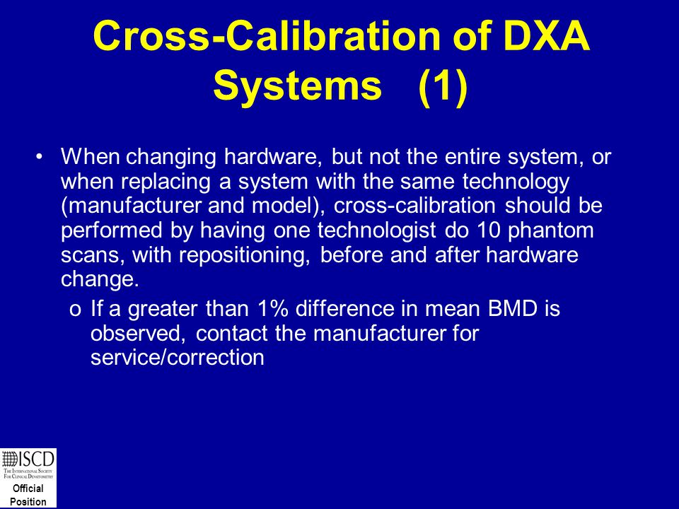 Cross-Calibration of DXA Systems (1)