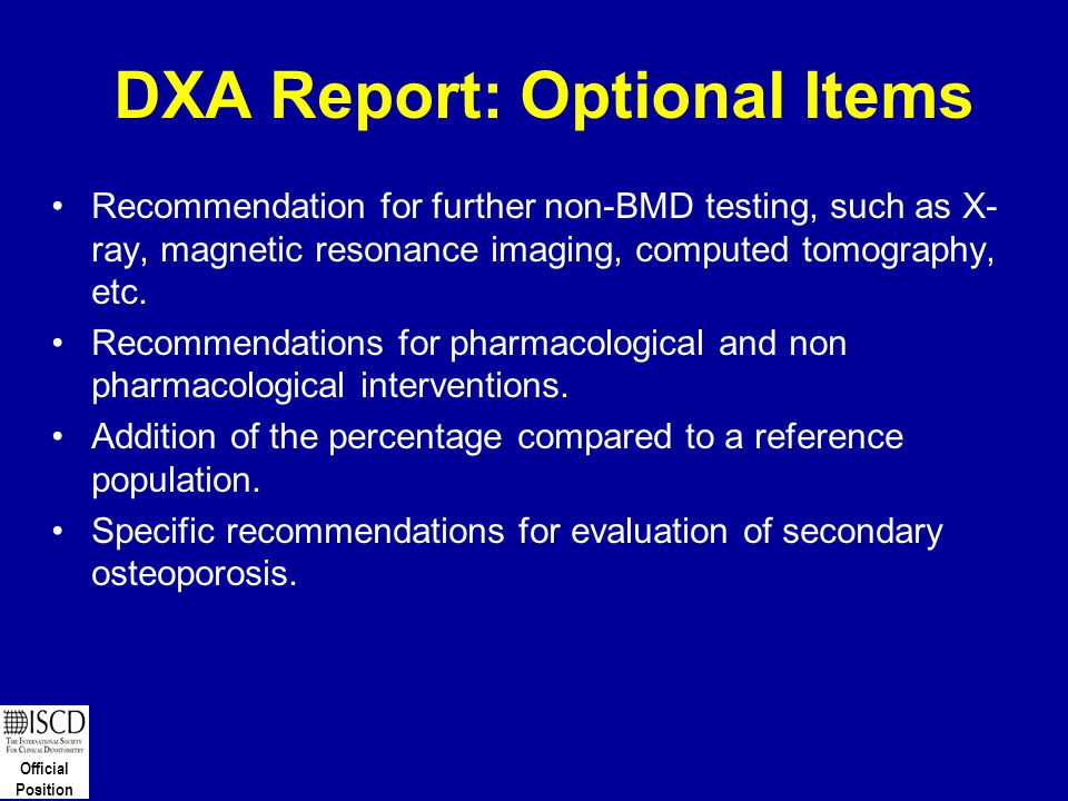 DXA Report: Optional Items