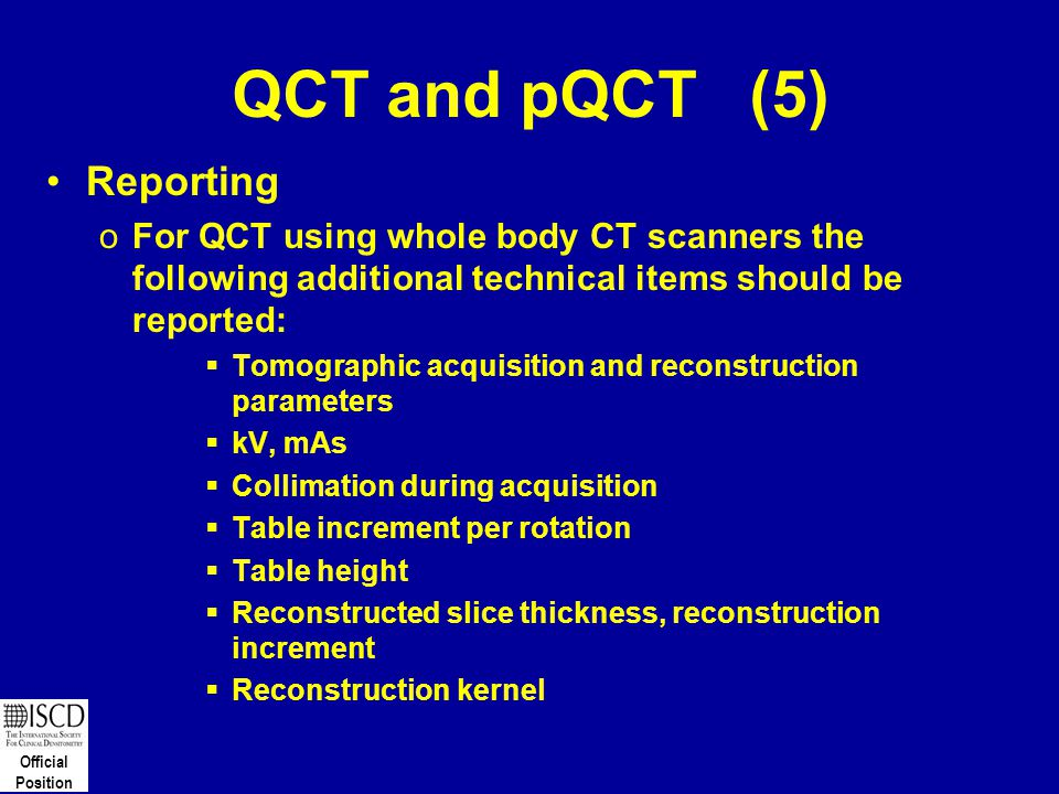 QCT and pQCT (5) Reporting