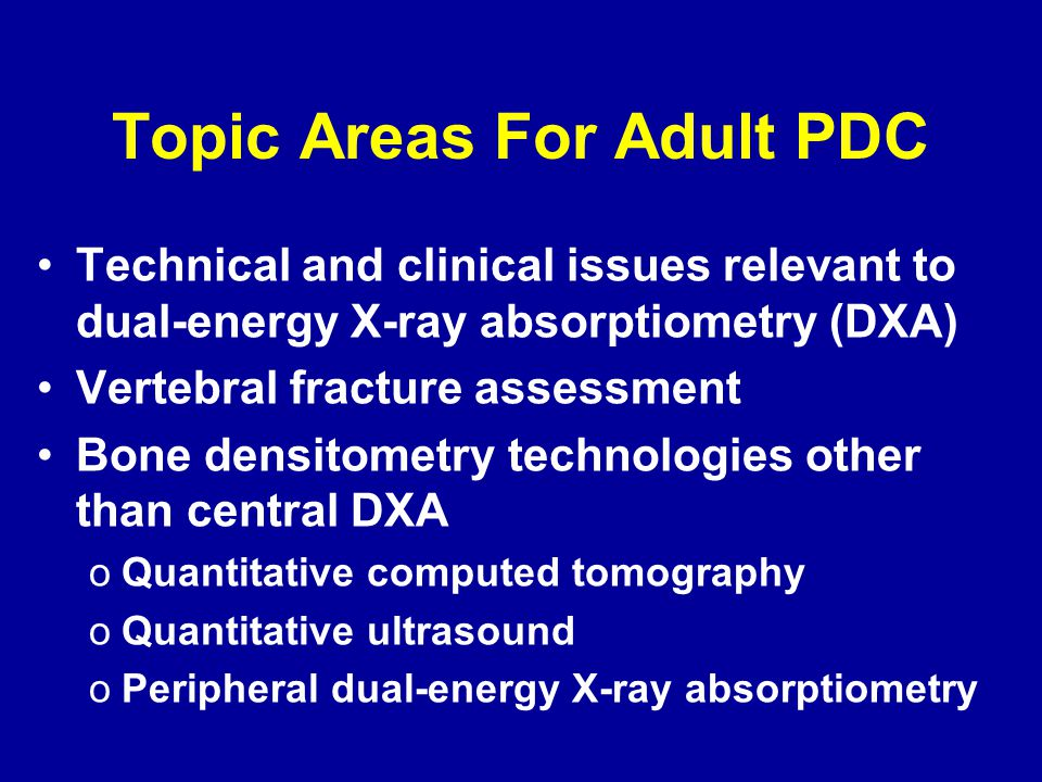 Topic Areas For Adult PDC