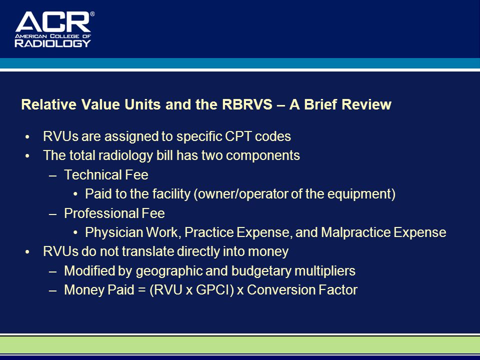 Relative Value Units and the RBRVS – A Brief Review