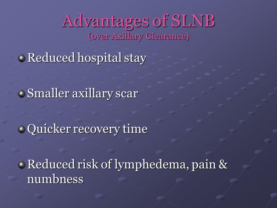 Advantages of SLNB (over Axillary Clearance)