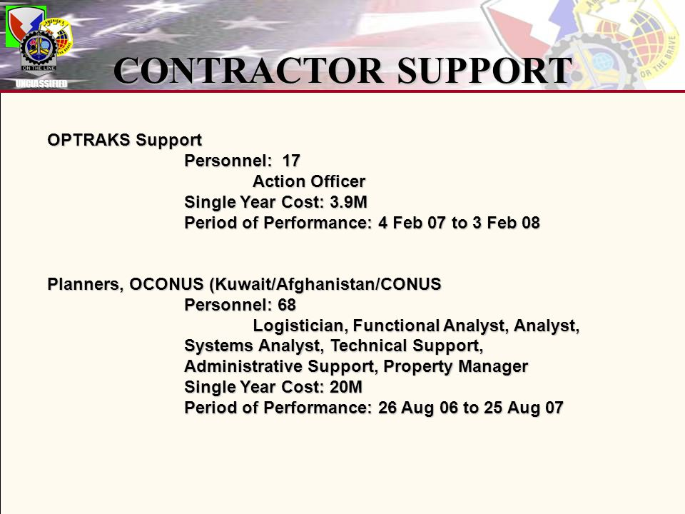 CONTRACTOR SUPPORT OPTRAKS Support Personnel: 17 Action Officer