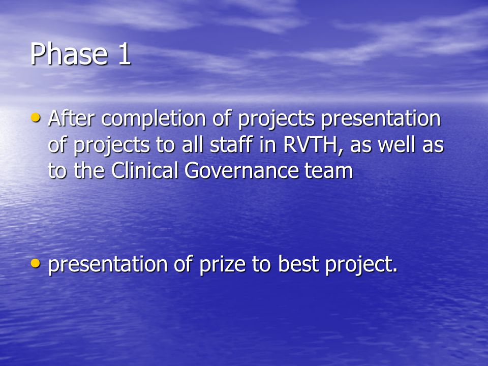 Phase 1 After completion of projects presentation of projects to all staff in RVTH, as well as to the Clinical Governance team.