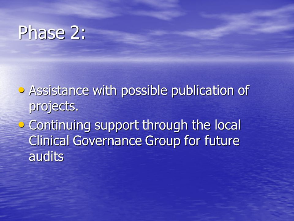 Phase 2: Assistance with possible publication of projects.