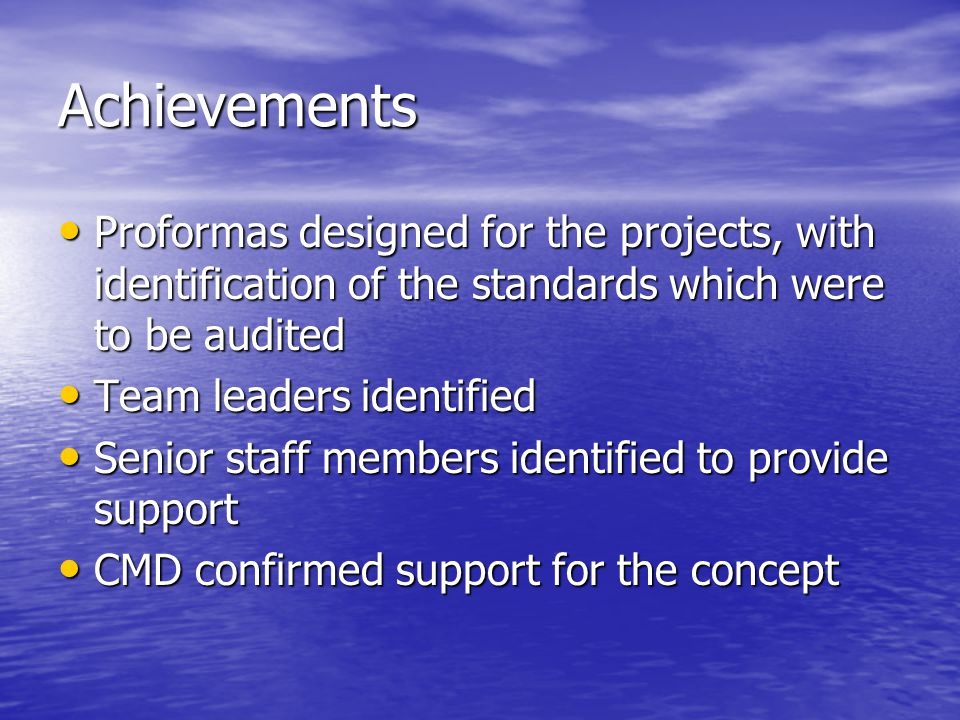 Achievements Proformas designed for the projects, with identification of the standards which were to be audited.