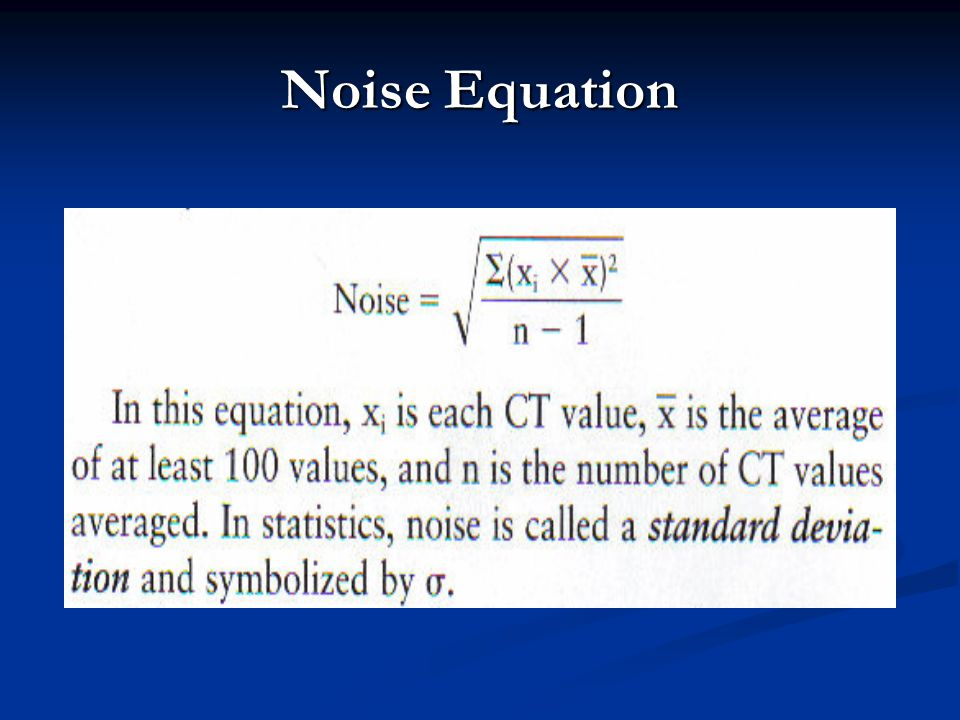 Noise Equation