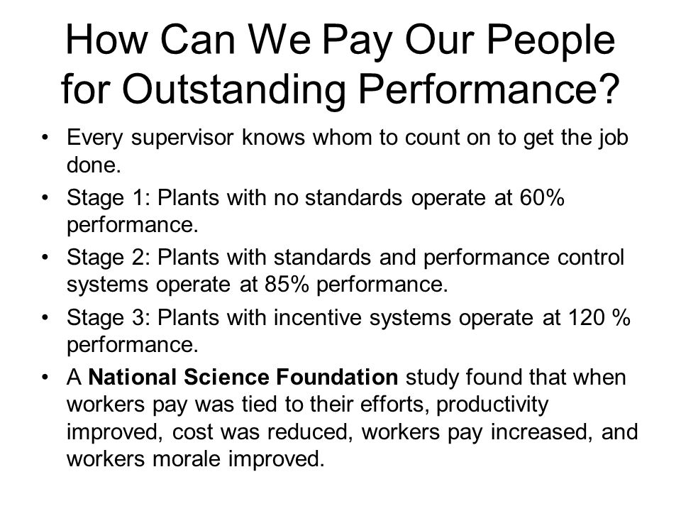 How Can We Pay Our People for Outstanding Performance