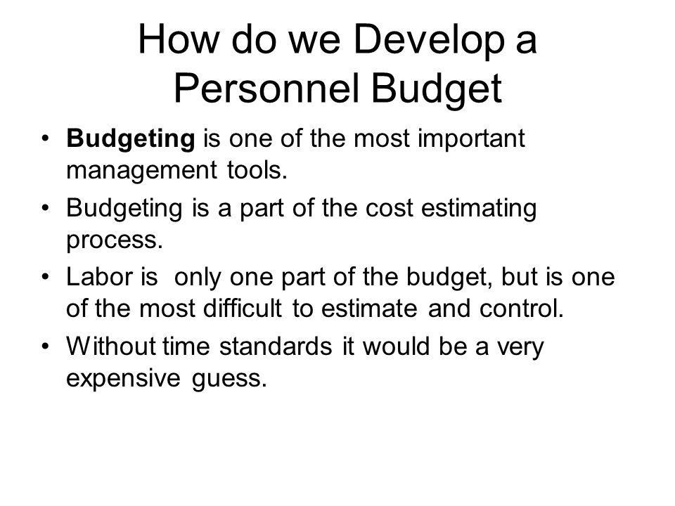 How do we Develop a Personnel Budget