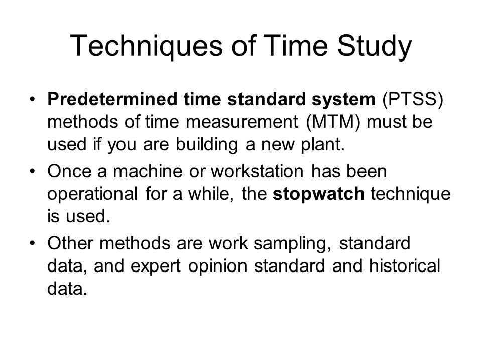 Techniques of Time Study
