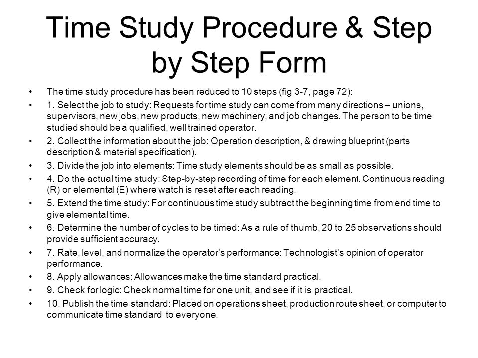 Time Study Procedure & Step by Step Form