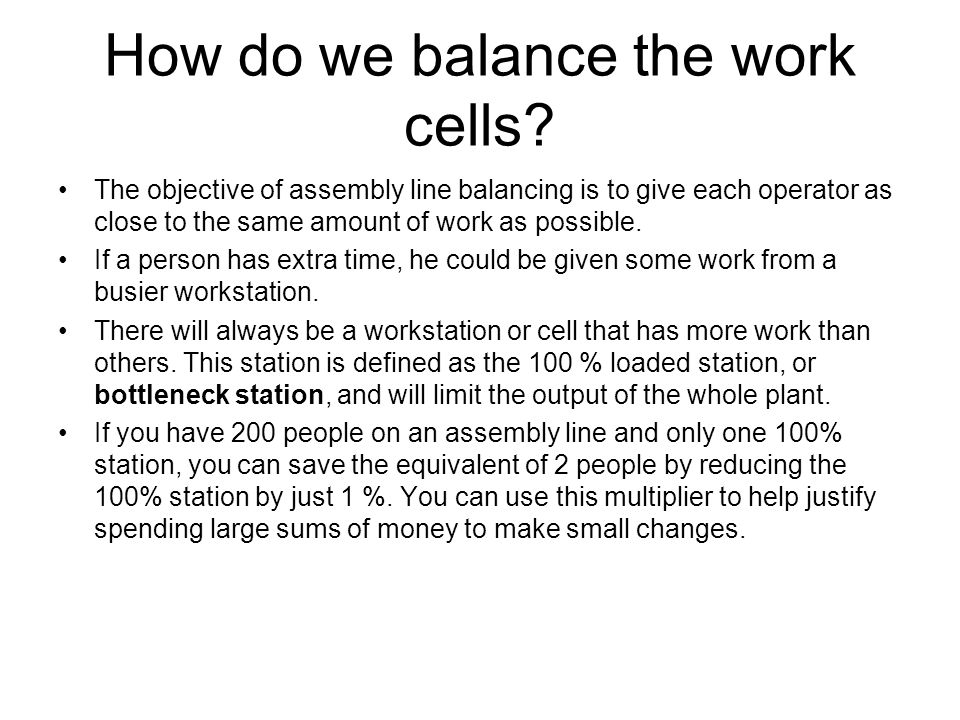 How do we balance the work cells
