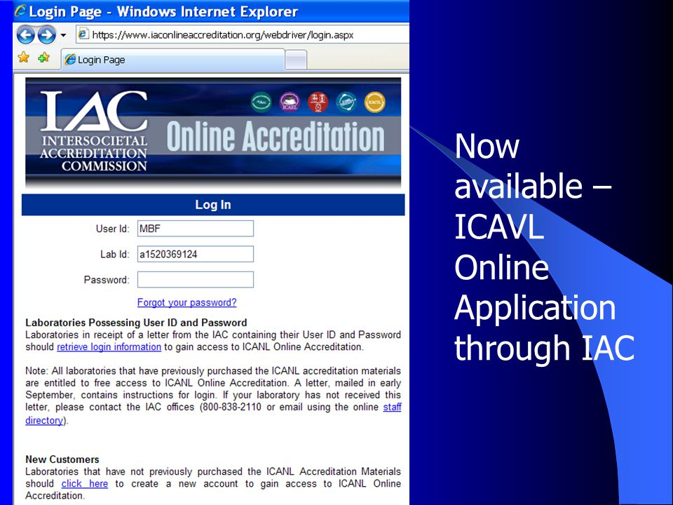 Now available – ICAVL Online Application through IAC