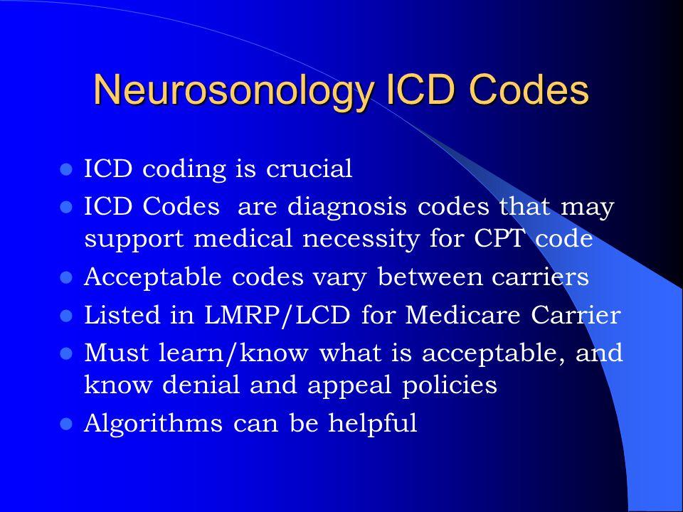 Neurosonology ICD Codes