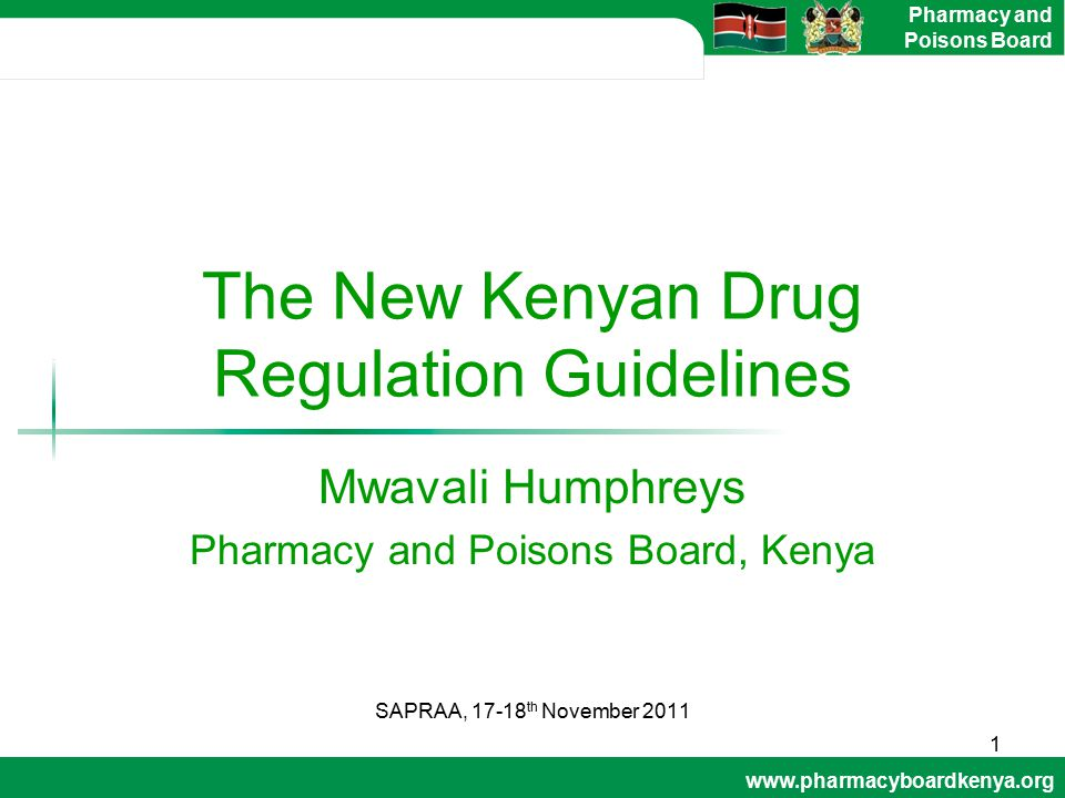 The New Kenyan Drug Regulation Guidelines