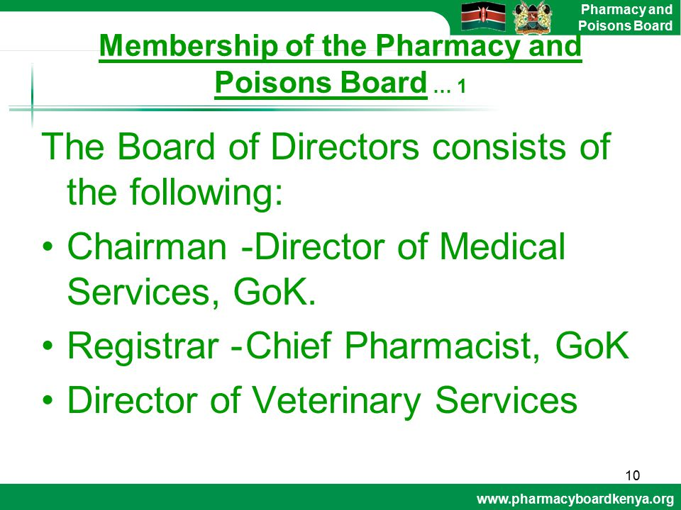 Membership of the Pharmacy and Poisons Board … 1