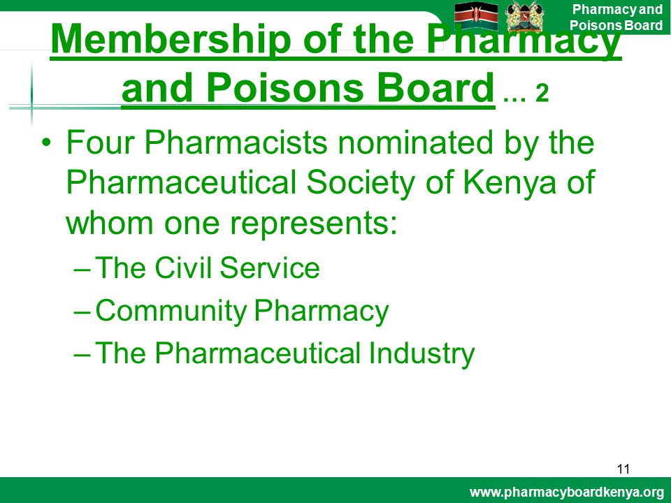Membership of the Pharmacy and Poisons Board … 2