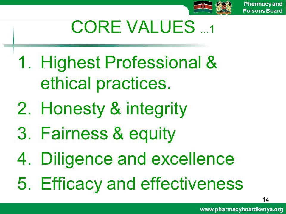CORE VALUES ...1 Highest Professional & ethical practices. Honesty & integrity. Fairness & equity.