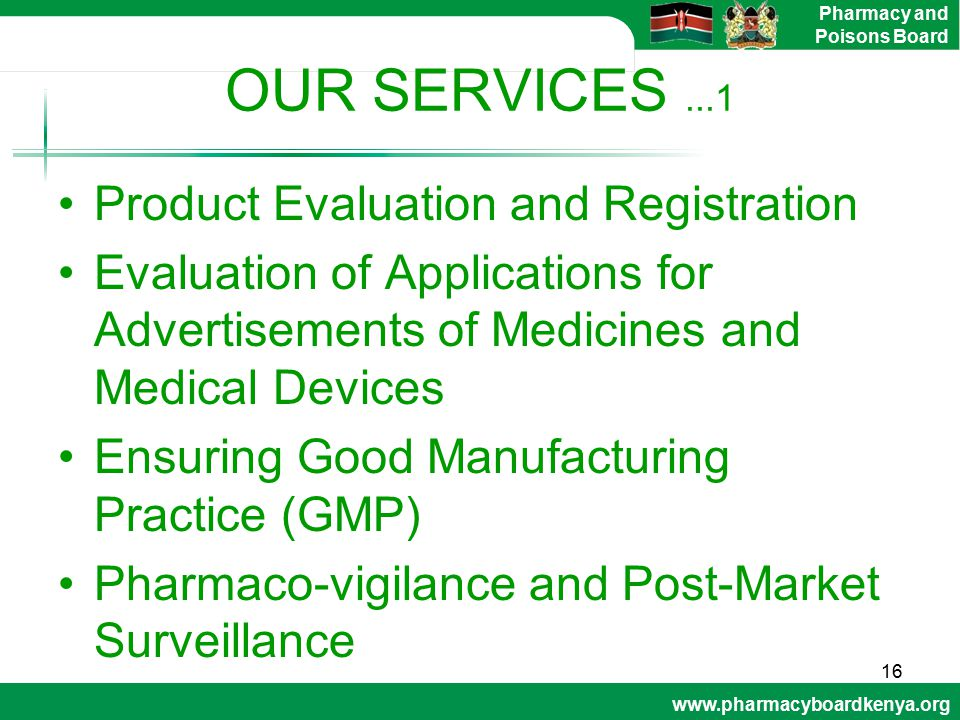 OUR SERVICES ...1 Product Evaluation and Registration