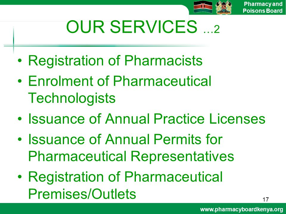 OUR SERVICES …2 Registration of Pharmacists