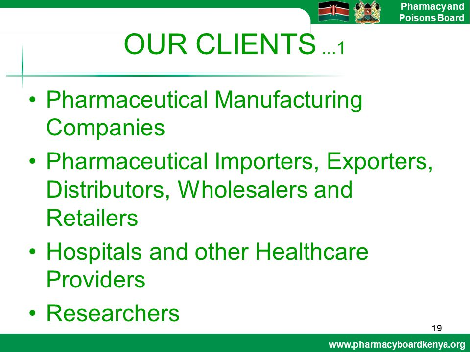 OUR CLIENTS ...1 Pharmaceutical Manufacturing Companies