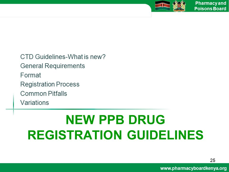 New ppb drug registration guidelines