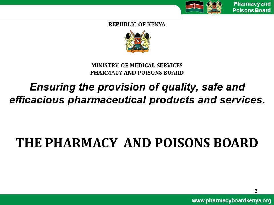 PHARMACY AND POISONS BOARD THE PHARMACY AND POISONS BOARD