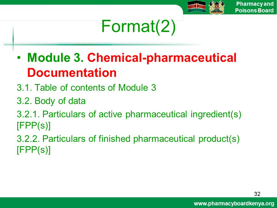 Format(2) Module 3. Chemical-pharmaceutical Documentation