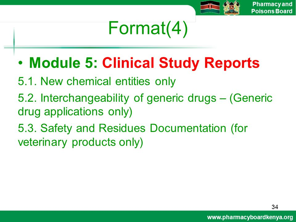 Format(4) Module 5: Clinical Study Reports