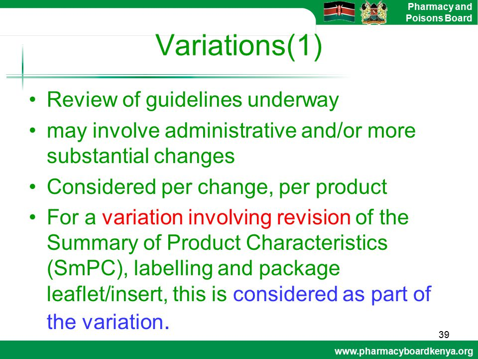 Variations(1) Review of guidelines underway