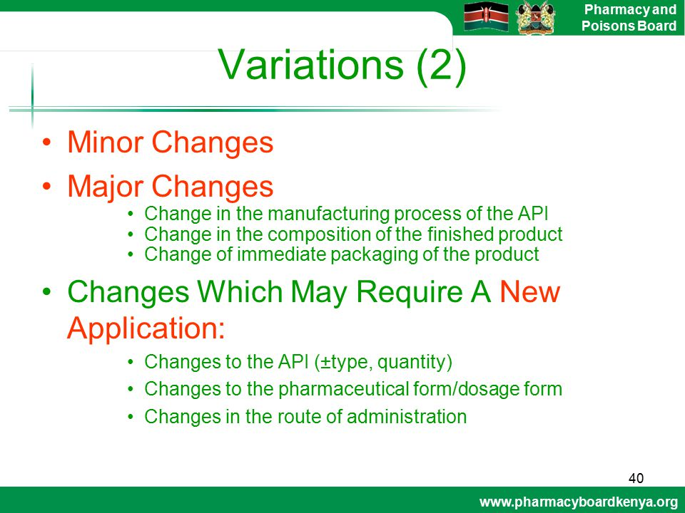 Variations (2) Minor Changes Major Changes