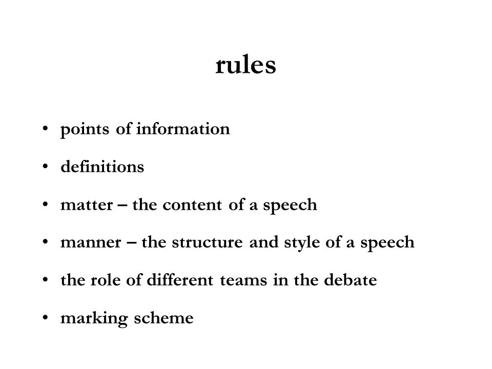 rules points of information definitions