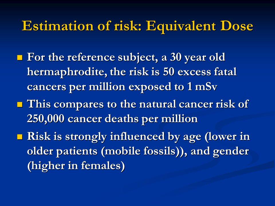 Estimation of risk: Equivalent Dose