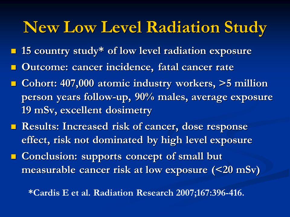 New Low Level Radiation Study