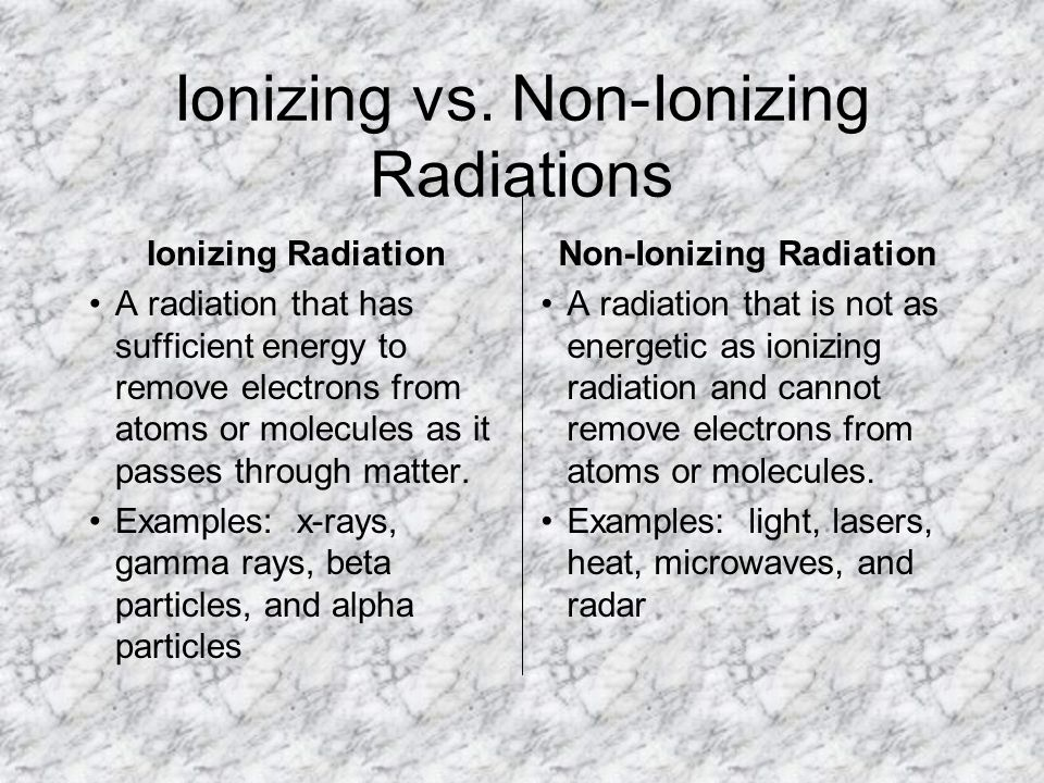 Ionizing vs. Non-Ionizing Radiations