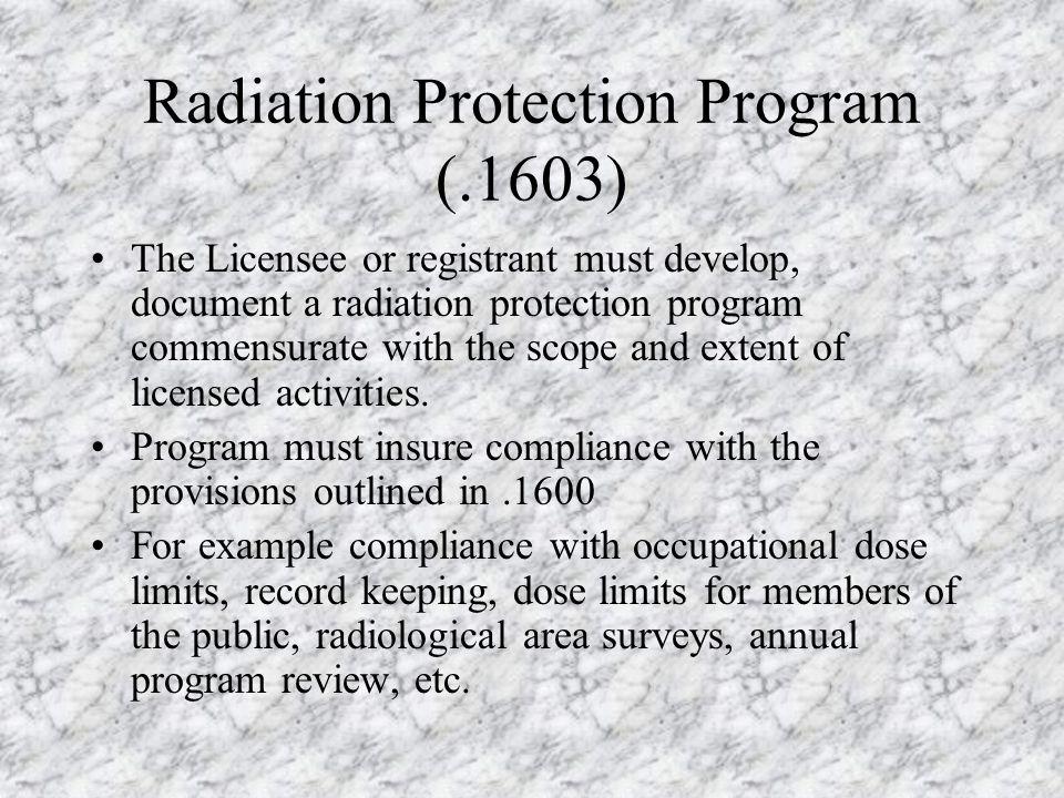 Radiation Protection Program (.1603)