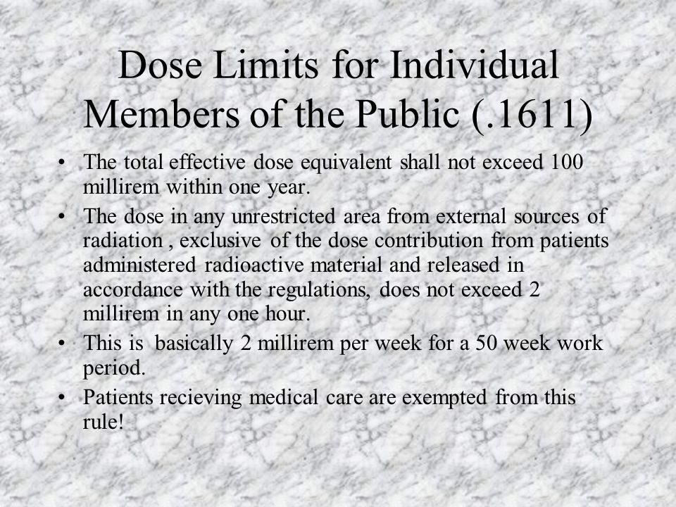 Dose Limits for Individual Members of the Public (.1611)