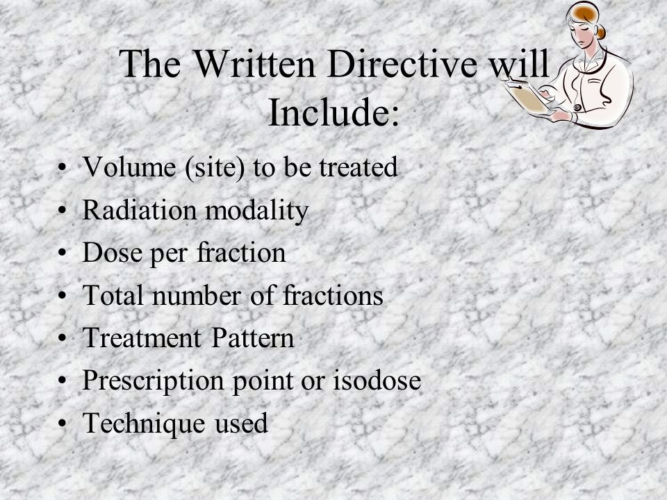 The Written Directive will Include: