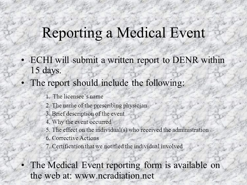 Reporting a Medical Event