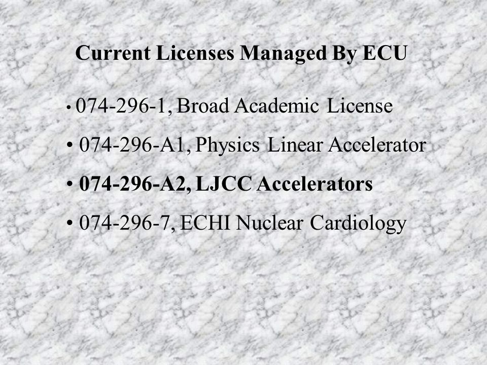 Current Licenses Managed By ECU