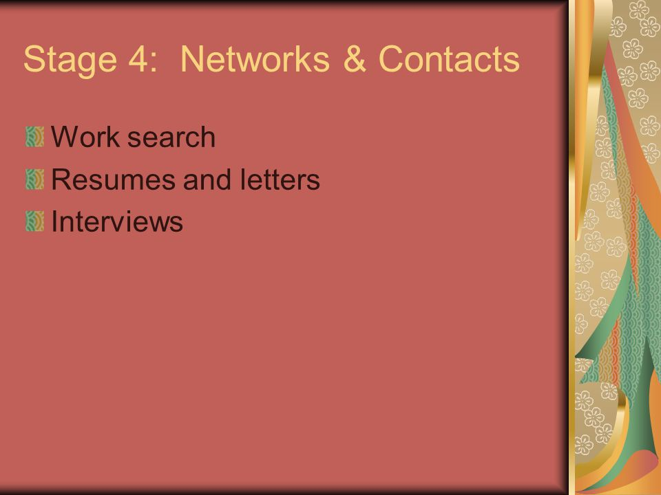 Stage 4: Networks & Contacts