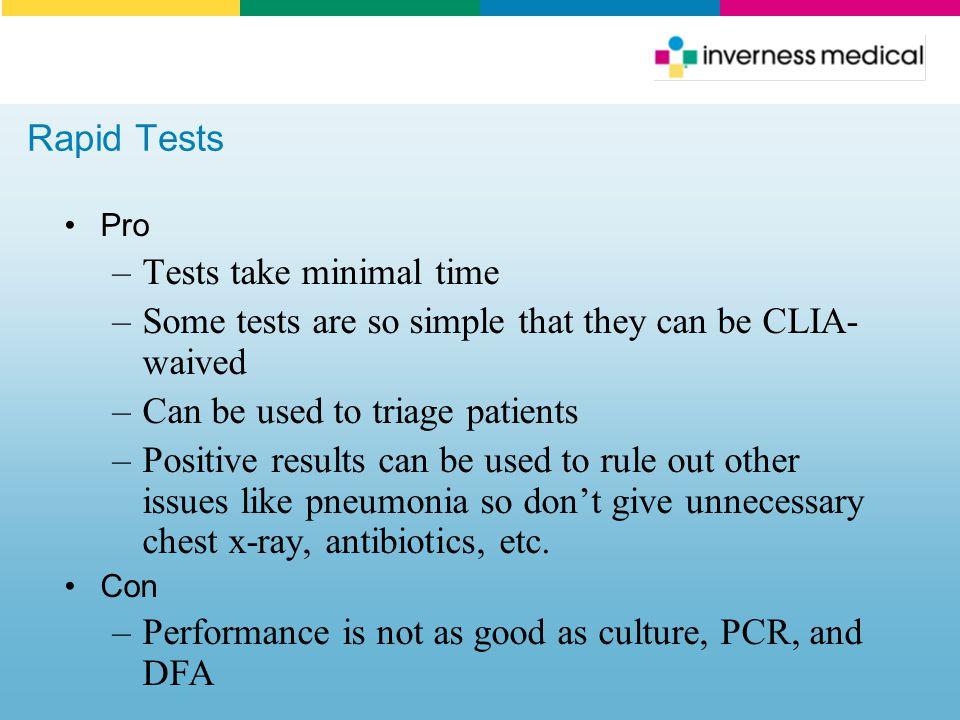 Tests take minimal time