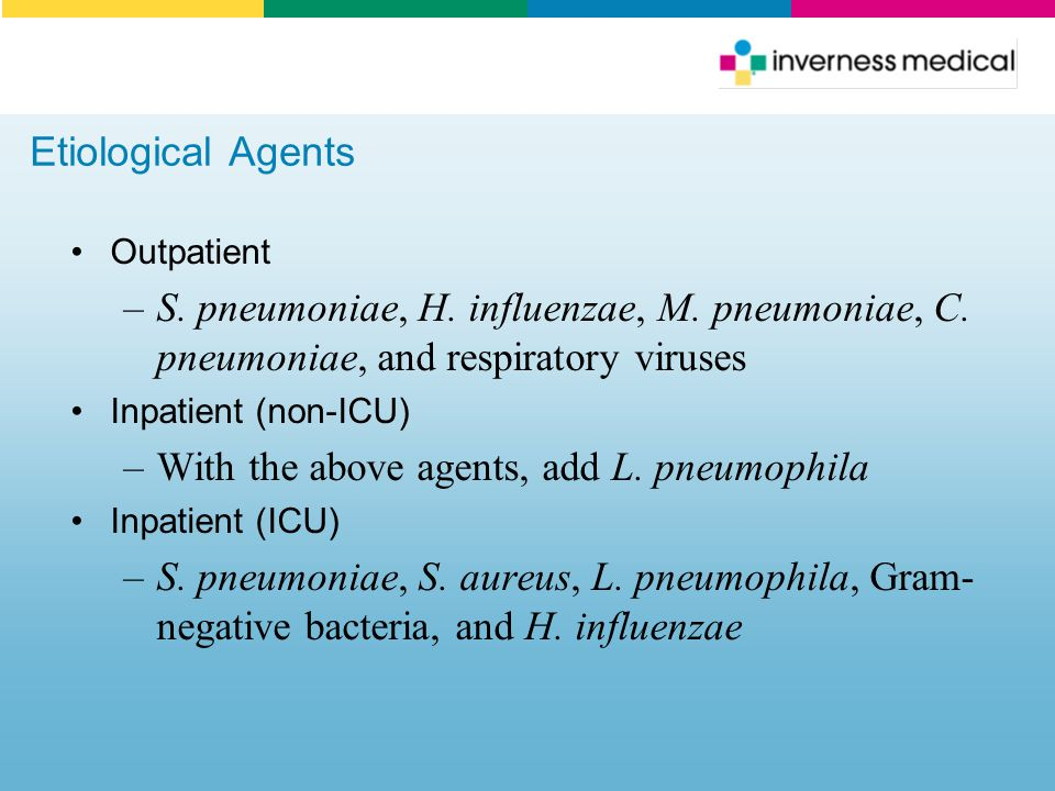 With the above agents, add L. pneumophila