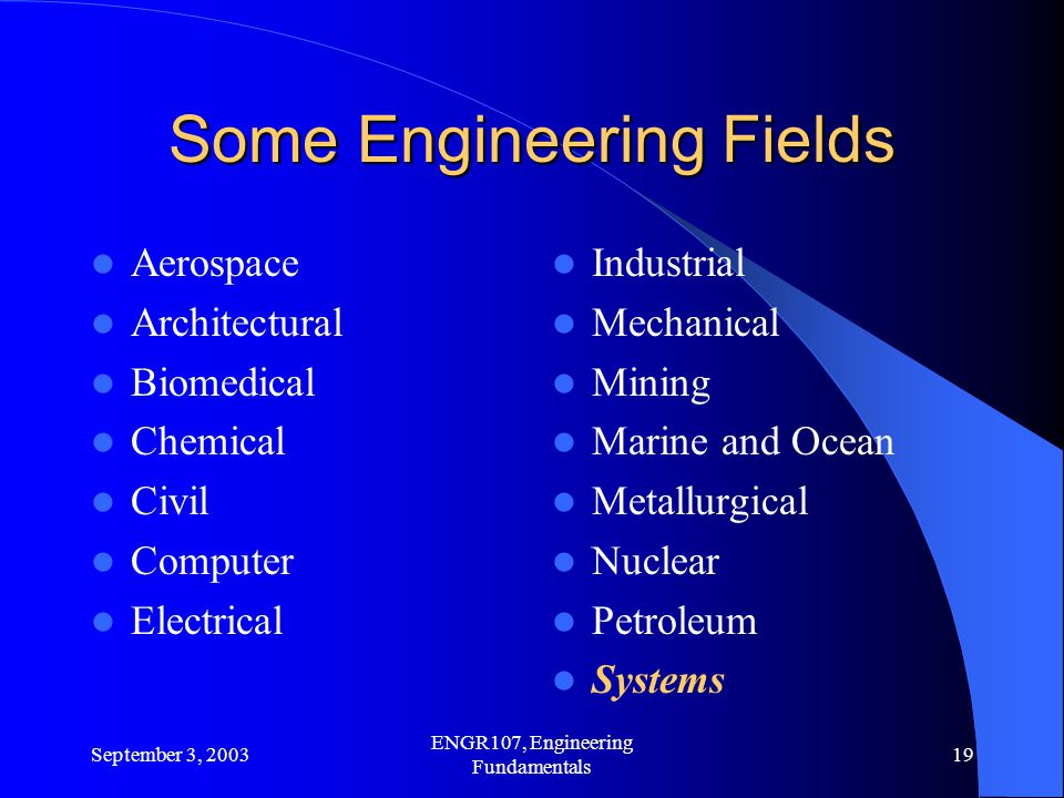 Some Engineering Fields