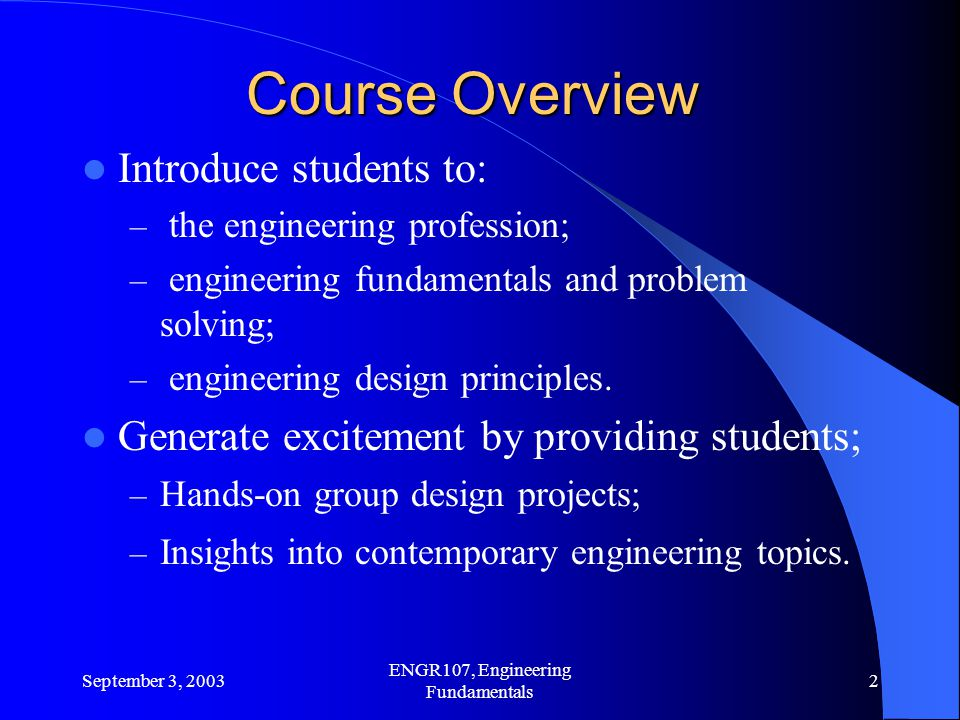ENGR107, Engineering Fundamentals