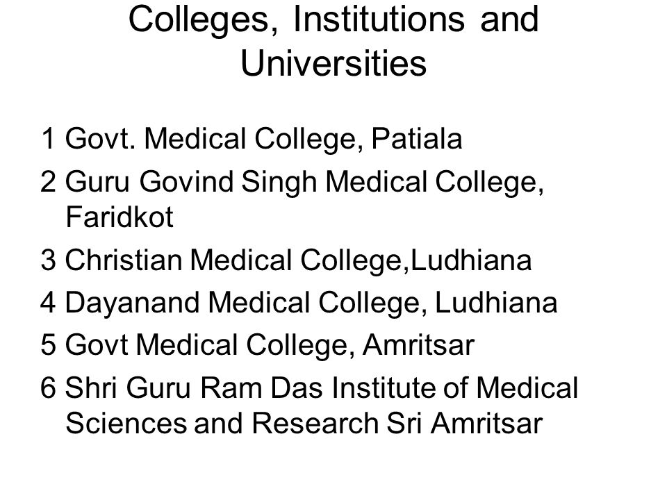 Colleges, Institutions and Universities