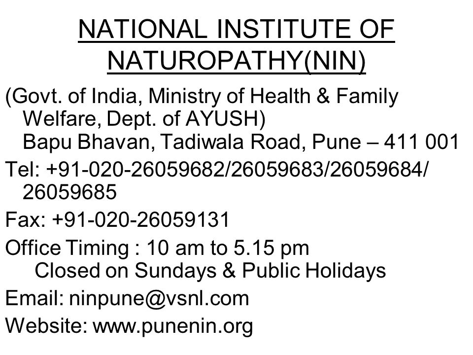 NATIONAL INSTITUTE OF NATUROPATHY(NIN)
